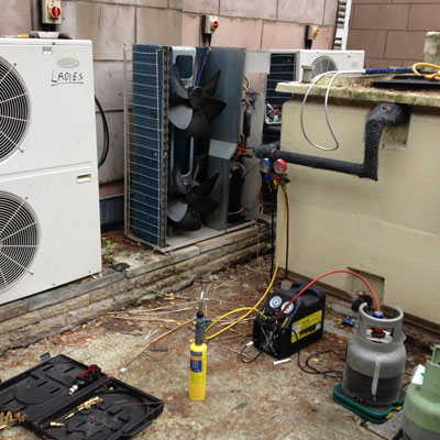 Air conditioning unit in Chester undergoing maintenance