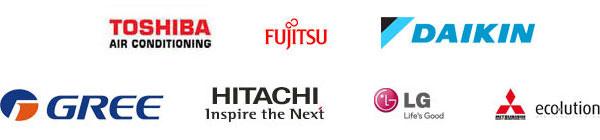 Daikin, Fujitsu, Gree, Hitachi, LG, Mitsubishi Ecolution, Toshiba