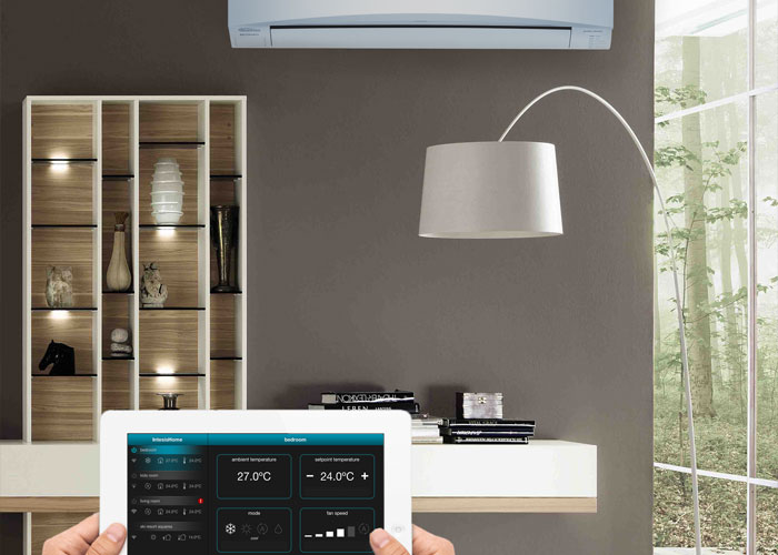 Domestic air conditioning system being controlled by user via tablet